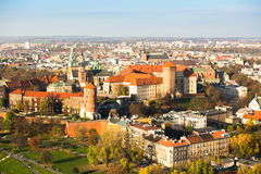 Aerial view of Royal Wawel castle with park Stock Photos