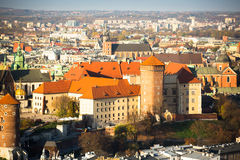 Aerial view of Royal Wawel castle with park Royalty Free Stock Photos