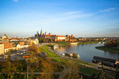 Aerial view of Royal Wawel castle with park Stock Photography