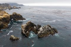Aerial View of Rugged Coastline and Ocean in California royalty free stock images