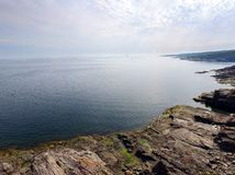 Aerial view of rugged coastline royalty free stock photos