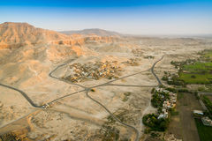 Aerial View of Ruined Temple, Egypt of Valley of the Kings on th Stock Photos