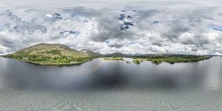 Aerial view of the ruins of historic Kilchurn Castle and Loch Awe Royalty Free Stock Photography