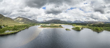 Aerial view of the ruins of historic Kilchurn Castle and Loch Awe Stock Photos