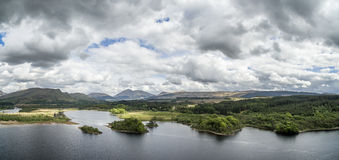 Aerial view of the ruins of historic Kilchurn Castle and Loch Awe Stock Image