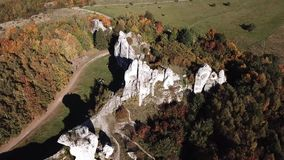 The ruins of medieval castle on the rock in Ogrodzieniec, Poland