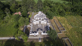Aerial view of ruins of medieval orthodox church in Veliki Preslav Stock Image