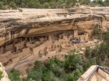 Aerial of cliff dwellings, Mesa Verde, Colorado. Aerial view of ruins at Mesa Verde, Colorado of cliff dwelling Indians on sunny day Stock Image