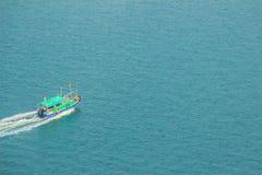 Aerial view of running boat in the sea, capture view from the Hong Kong cable. Car at Lantau islands,Hong Kong Royalty Free Stock Photos