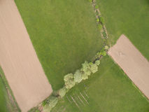 Aerial view of rural area. Aerial view of rural agricultural fieldst shot with drone Stock Images