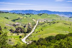Aerial view of a rural area in south San Francisco bay area, San Jose, Santa Clara county, California stock photography