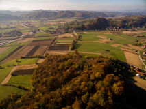 Aerial view of rural autumn landscape. Shot with drone Stock Images