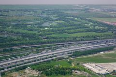 Aerial view of rural highway stock photos