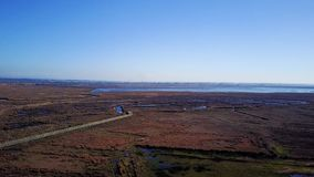 Aerial View of rural landscape. Near the Aveiro Lagoon at Murtosa, Aveiro, Portugal stock footage