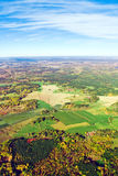 Aerial view of rural landscape under blue sky. Aerial view of autumn rural landscape under blue sky Stock Photography