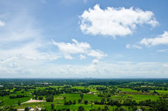 Aerial view of a rural region and farmland. Royalty Free Stock Photos
