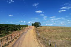 Aerial view of rural road with beautiful landscape. stock photo