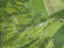 Aerial Azores. Aerial view of a rural road near Sete Cidades on the island of Sao Miguel in the Azores stock photo