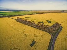 Aerial view of rural road passing through agricultural land in Australian countryside at sunset. Stock Images