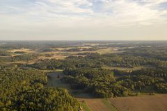 Aerial view of rural Scandinavian landscape Stock Photography