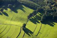 Aerial view : rural scene of fields and meadows. Along a forest Royalty Free Stock Image