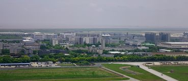 Aerial view of rural township stock photos