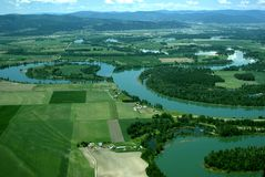 Aerial view of rural USA. Aerial view of spring time in rural Western Montana USA Stock Photography
