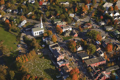 Aerial view of rural Vermont town. Stock Photo