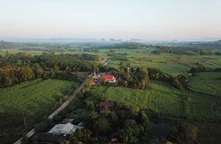 Aerial view of rural villages in the rainy season royalty free stock photos