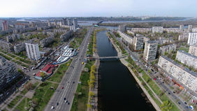 Aerial view of Rusanovka channel in Kiev Stock Images