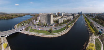 Aerial view of Rusanovka channel in Kiev Royalty Free Stock Images
