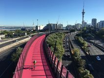 Aerial view of rush hours traffic on Auckland Central Motorway. One of the busiest stretches of road in New Zealand royalty free stock images