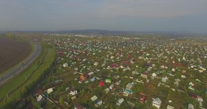 Aerial view of the Russian countryside in autumn stock video