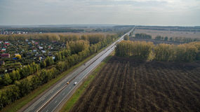 Aerial view of the Russian countryside in autumn Royalty Free Stock Images