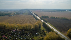 Aerial view of the Russian countryside in autumn Stock Photography
