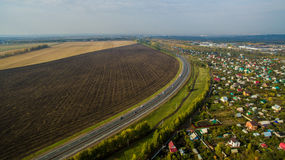 Aerial view of the Russian countryside in autumn Stock Photo