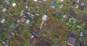 Aerial view of the Russian countryside in autumn stock footage