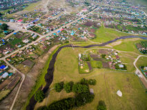 Aerial view of the Russian countryside in autumn. Temyasovo village Stock Photos