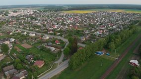 Aerial view Russian small town. Belarus. Voronovo. stock video