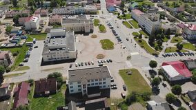 Aerial view Russian small town. Belarus. Voronovo. stock footage