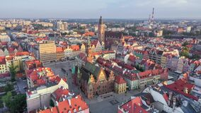 Aerial view of Rynek square in Wroclaw, Poland
