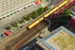 Aerial view of the S-Bahn tracks rapid train and tram train at t Stock Photo