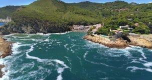 Aerial View of Sa Tuna Beach Spain. Aerial view of Sa Tuna beach Costa Brava Spain stock video footage
