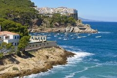 Aerial view of Sa Tuna Beach Resort Spain Stock Photography