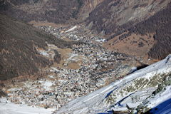 Aerial view of Saas Fee. The Alps, Switzerland. Stock Photo