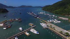 Aerial view Saco da Ribeira in Ubatuba beach - North coast in Sao Paulo State - Brazil stock footage