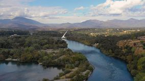 Aerial View Sacramento River from Hilltop Redding California Bully Choop Mountain stock footage