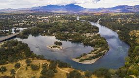 Aerial View Sacramento River Redding California Bully Choop Mountain. Clear Day to see wildfire damage over the Sacramento River in Redding California USA stock photography