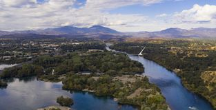 Aerial View Sacramento River Redding California Bully Choop Mountain. Clear Day to see wildfire damage over the Sacramento River in Redding California USA stock images