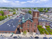 Sacred Heart Rectory Church, Malden, MA, USA. Aerial view Sacred Heart Rectory Church in downtown Malden, Massachusetts, USA royalty free stock photo